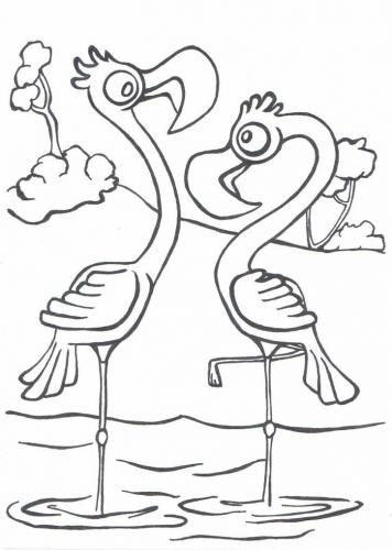 Plameňáci omalovánky